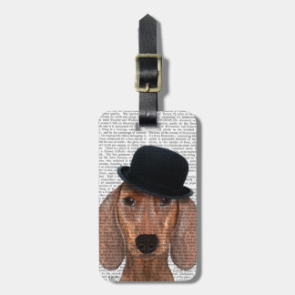 Dachshund with Black Bowler Hat Luggage Tag