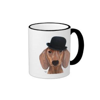 Dachshund with Black Bowler Hat Ringer Mug