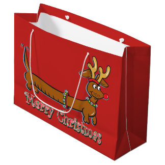 Dachshund with Reindeer Antlers for Christmas Large Gift Bag