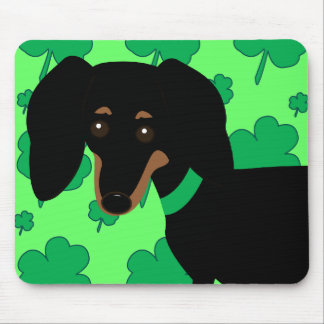 Dachshund with Shamrocks Mouse Pad