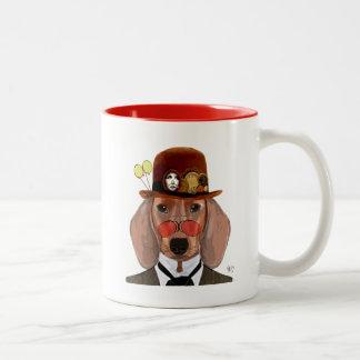 Dachshund with Steampunk Bowler Hat Two-Tone Mug