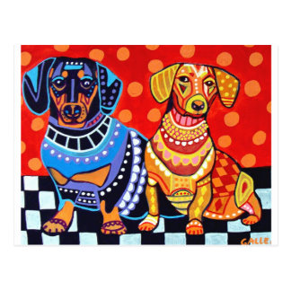 Dachshunds by Heather Galler Postcard