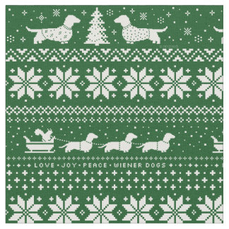 Dachshunds Christmas Sweater Pattern Green Fabric