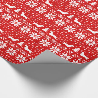 Dachshunds Christmas Sweater Pattern Red Wrapping Paper