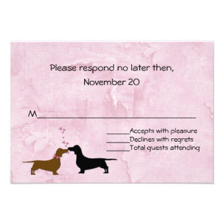 Dachshunds Custom Pink Wedding RSVP Announcements