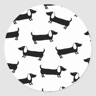 Dachshunds in black and white classic round sticker