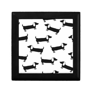 Dachshunds in black and white gift box