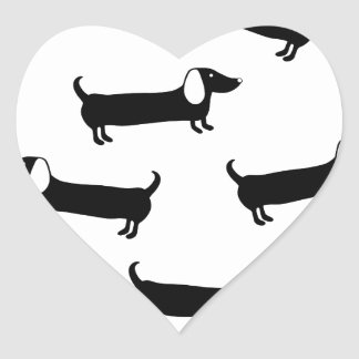 Dachshunds in black and white heart sticker