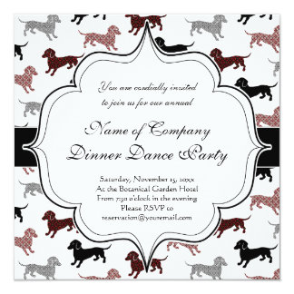 Dachshunds in Damask Cute Pattern 13 Cm X 13 Cm Square Invitation Card