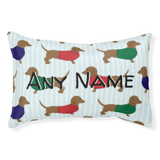 Dachshunds In Sweaters Personalized Pet Bed
