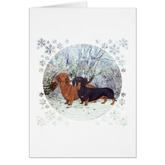Dachshunds in the Snow Greeting Card