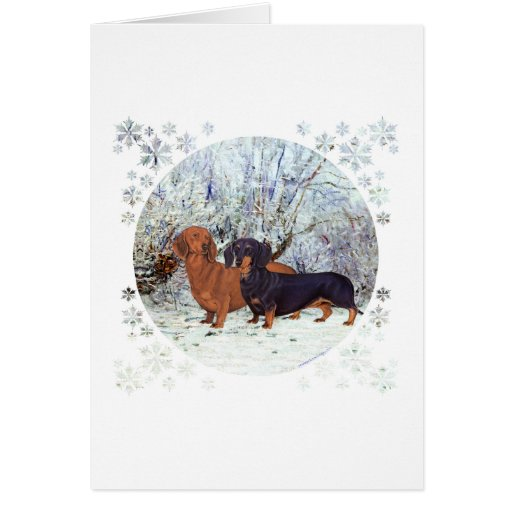 Dachshunds in the Snow Greeting Cards