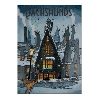 Dachshunds in Winter Village, add text Poster