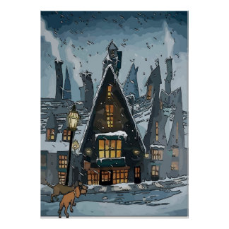 Dachshunds in Winter Village Poster