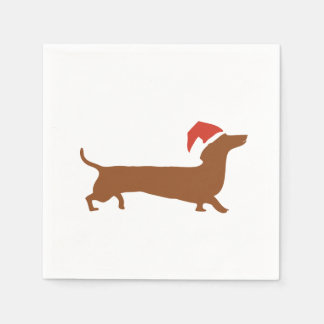 Dachshunds kissing in snow Merry Christmas napkin Disposable Serviette