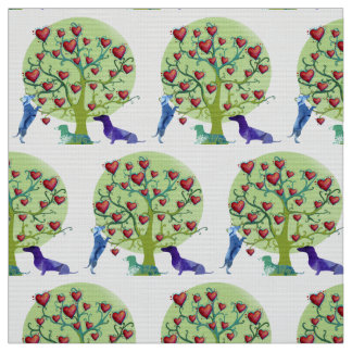 Dachshunds Love Garden , Red hearts,Fabric Fabric