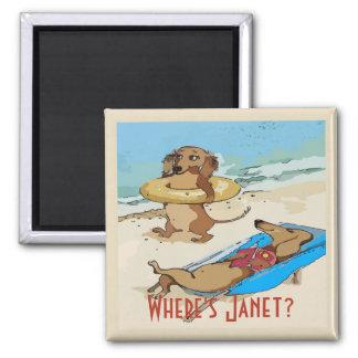 Dachshunds on Beach, add test Magnet