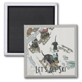 Dachshunds on the Slopes, add text Magnet