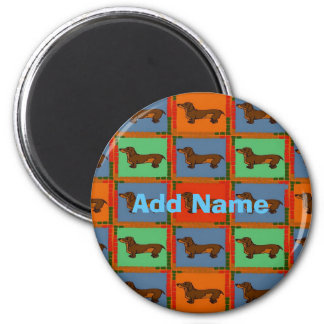 Dachshunds Pa Dutch hex Sign, add name Magnet