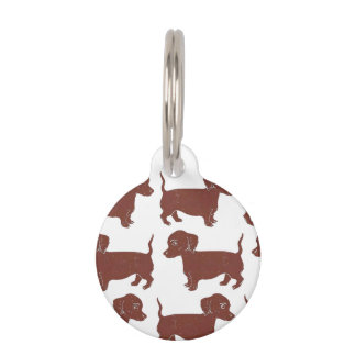 Dachshunds Pattern Custom Round Dog Tag Pet Nametag