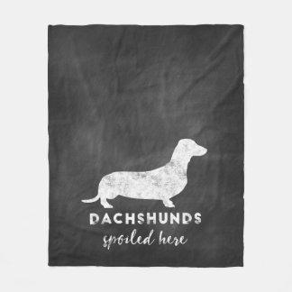 Dachshunds Spoiled Here Vintage Chalkboard Fleece Blanket