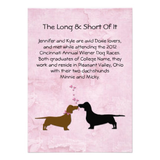 Dachshunds Wedding Couple's Love Story Table Cards