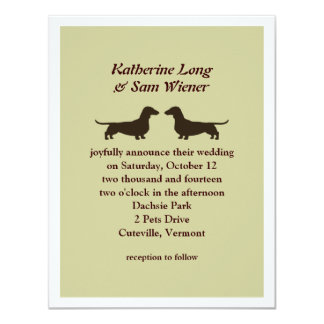Dachshunds Wedding Invitation - Customizable Color