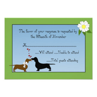 Dachshunds Wedding Response Card Personalized Invitations