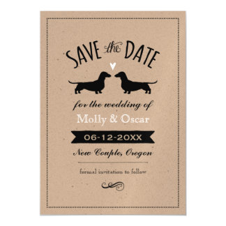 Dachshunds Wedding Save the Date Magnetic Invitations