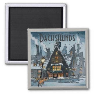 Dachshunds Winter Storm, add text Magnet