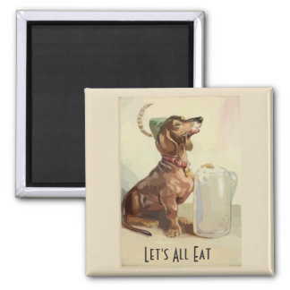 Dachshunds with beer, add text magnet