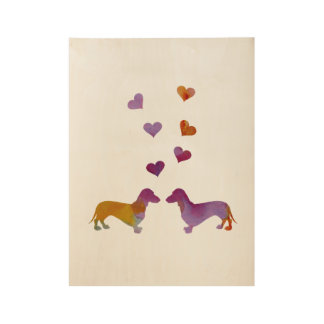 Dachshunds Wood Poster