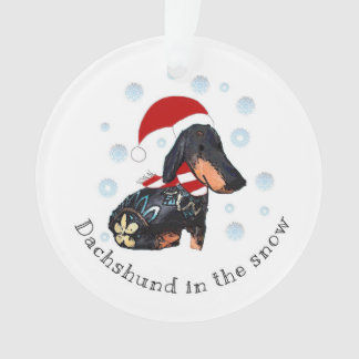 Dachsund in the snow ornament