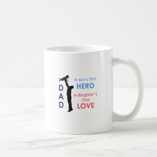 Dad A Son's First Hero A Daughter Basic White Mug