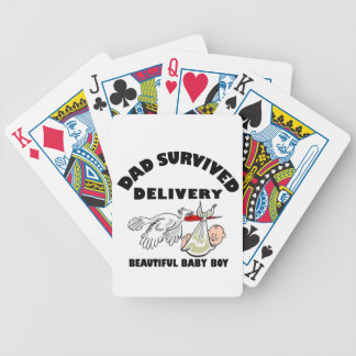 Dad and beautiful baby son bicycle playing cards