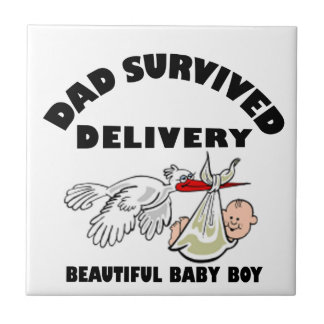 Dad and beautiful baby son ceramic tile