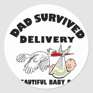 Dad and beautiful baby son classic round sticker