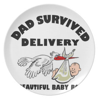 Dad and beautiful baby son party plate