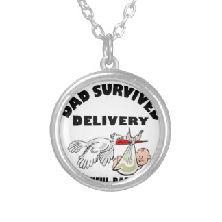 Dad and beautiful baby son silver plated necklace
