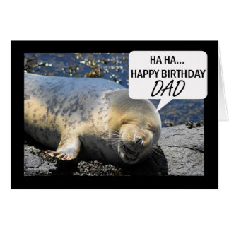 Dad Birthday card with laughing seal pup