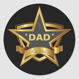 Dad Black and Gold Star Round Stickers