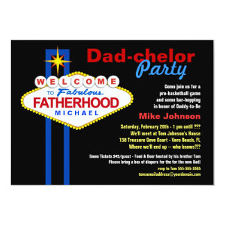 "Dad-chelor Party - Daddy Diaper Keg Invitations 5"" X 7"" Invitation Card"