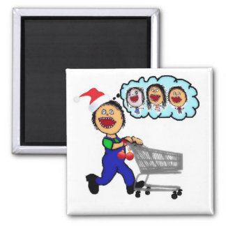 Dad Christmas Shopping Square Magnet