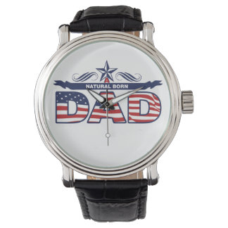 Dad, Father, A Natural Born Dad Wrist Watches