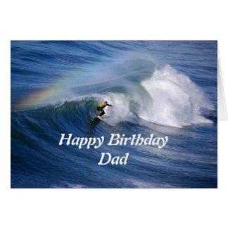Dad Happy Birthday Surfer With Rainbow Greeting Card