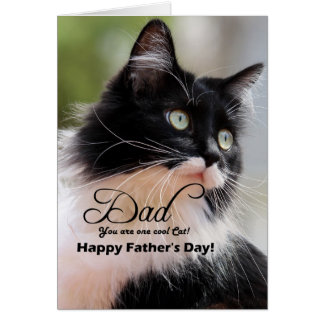 Dad / Happy Father's Day - Tuxedo Cat Card