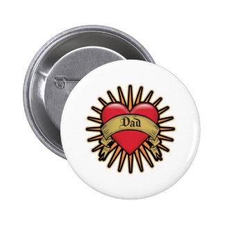 Dad Heart Tattoo 6 Cm Round Badge
