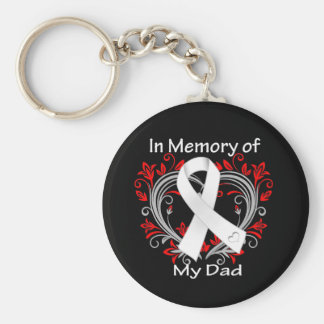 Dad - In Memory Lung Cancer Heart Keychains