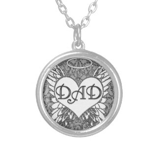 Dad  Memorial   Angel Wings Silver Plated Necklace