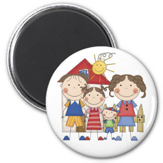 Dad, Mom, Big Sister, Little  Brother Family Magnet